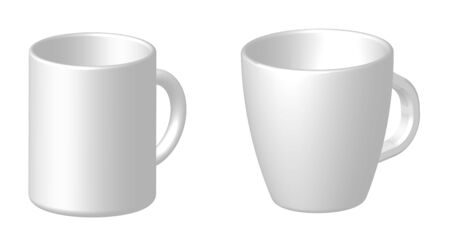 template mockup mugs for coffee or cocoa. Isolated realistic vector on white background 向量圖像