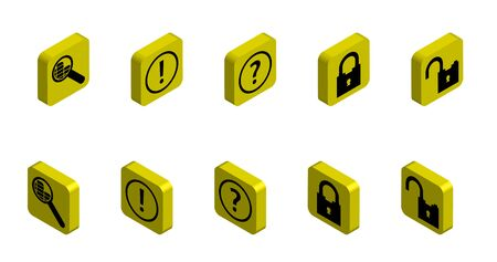 set of functional 3D icons on the topic of security and information search on the Internet. Isolated vector on white background