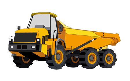 black and yellow construction dump truck. Industrial machinery and equipment. Isolated vector on white