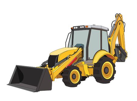 construction equipment tractor in black and yellow colors. Industrial machinery and equipment. Isolated vector on white