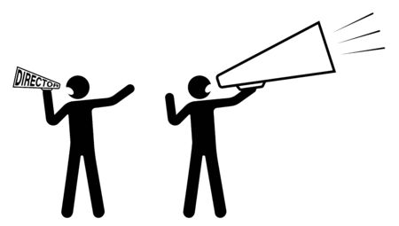 stick figure, director holds speaker, a loudspeaker and screams. Start filming a movie. Nervous leader. Isolated vector on white background