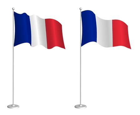flag of French Republic on flagpole waving in the wind. Holiday design element. Checkpoint for map symbols. Isolated vector on white background