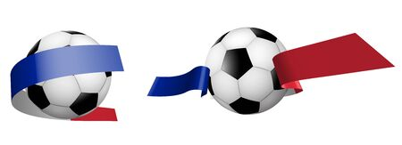 balls for soccer, classic football in ribbons with colors of French flag. Design element for football competitions. French national team. Isolated vector on white background