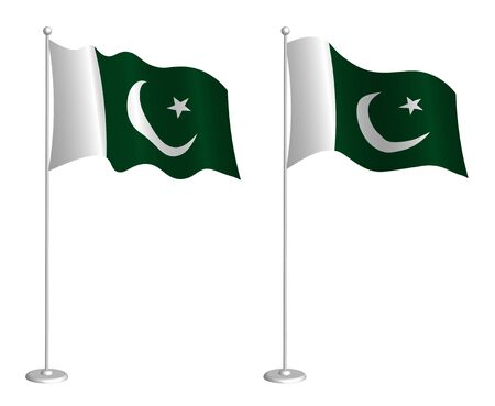 flag of Islamic Republic of Pakistan on flagpole waving in the wind. Holiday design element. Checkpoint for map symbols. Isolated vector on white background