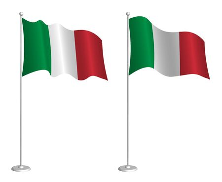 flag of Italian Republic on flagpole waving in the wind. Holiday design element. Checkpoint for map symbols. Isolated vector on white background Ilustrace