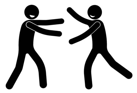 stick figure, cheerful people are glad to meet and extended their hands to hug, old acquaintances. International Friendship Day. Live human communication. Isolated vector on white background Vectores