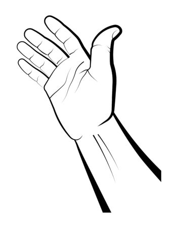 human hand indicates the direction of movement. Gesture of a request for help. Gift, presentation. Isolated vector on white background