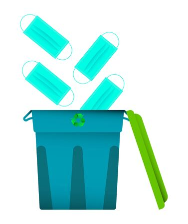 used medical masks fly into the bin, a container for recycling. End of pandemic, the victory over the virus, a protracted disease. Colored icon