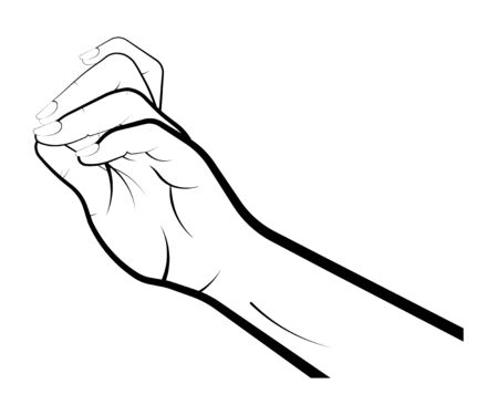 female hand gently holds a small object with two fingers. He plays a musical instrument, puts a ring on his hand. Gestures. Isolated vector on white background