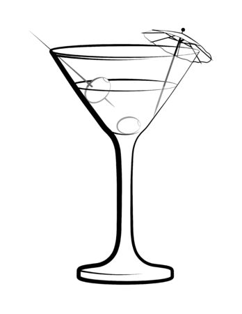 Glass of martini with olives and a decorative umbrella. Cocktails, alcoholic drinks, illustrations for the cafe, restaurant menu. Isolated vector on white background