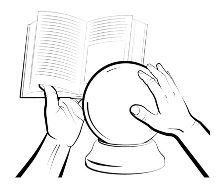 sorcerer is reading a spellbook over a crystal ball. Items and rites of magic and astrology. Isolated vector on white background