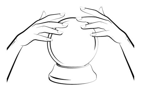 sorceress hands over a crystal ball. Prediction of the future, astrology. Isolated vector on white background  イラスト・ベクター素材