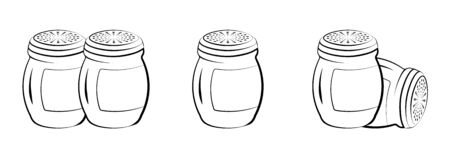 Icons, salt and pepper shaker in various positions. Kitchen items. Cooking. Isolated vector on white background