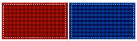 A4 template with a large checkered pattern, imitation fabric. Red and blue banner. The basis for the flyer. Vector 일러스트