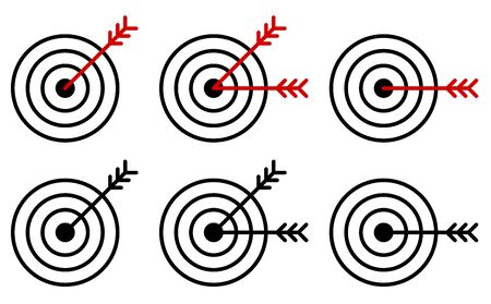 set of arrow icons hit the middle of the target. Accurate shot. Achieving a goal in business. Isolated vector on white background