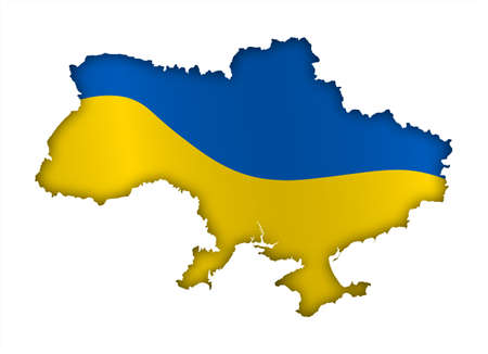 borders Of Ukraine in colors of national Ukrainian flag. Independence Day. Basis of festive banner, layout. Vector on a white background Ilustración de vector