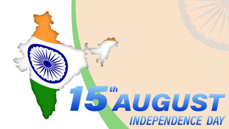 Indian Independence Day. Outlines of state borders on the background of the Indian flag. Holiday design element. Banner or Flyer design for 15th August