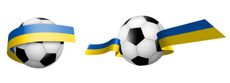 balls for soccer, classic football in ribbons with the colors of Ukrainian flag. Design element for football competitions. Ukrainian national team. Isolated vector on white background Ilustrace