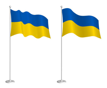 Ukrainian flag on flagpole waving in the wind. Holiday design element. Checkpoint for map symbols. Isolated vector on white background