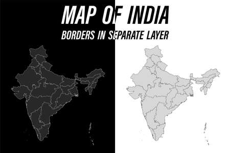 detailed map of India with borders. Black and white vector