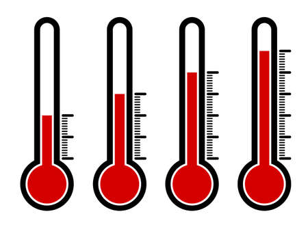 thermometers icon set with different high temperature values. Abnormal heat. Devices for measuring the weather. Vector on a white background Vettoriali