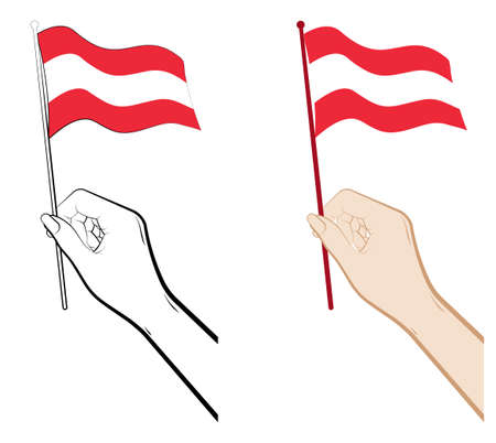 Female hand gently holds the small flag of Austria with her fingers. Holiday design element. Vector on a white background