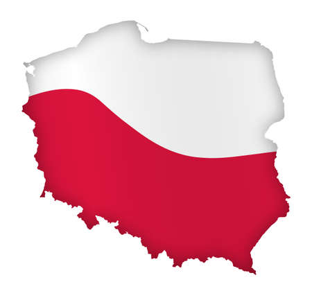 borders of Poland in colors of national flag of Poland. Independence Day. Basis of festive banner, layout. Vector on a white background Vektorgrafik