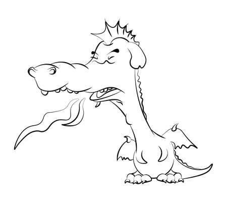 cute young dragon teenager in a bad mood releases flames from his mouth. Coloring book for children. Vector on a white background