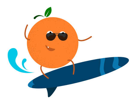 cheerful tanned orange in surfing on the waves. Active summer vacation at sea. Vector in cartoon style