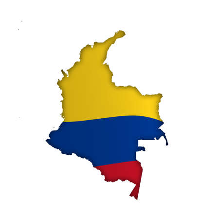 borders of Colombia in colors of national flag. Independence Day. Basis of festive banner, layout. Vector on a white background Vector Illustration