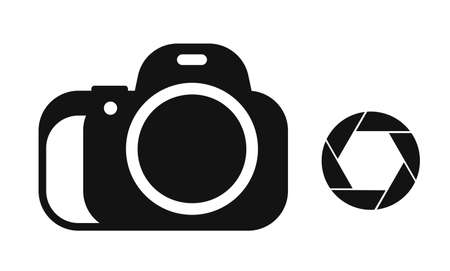 Icon set camera and lens icon. World Photography Day August 19th. Selfies and photo albums. Vector on a white background