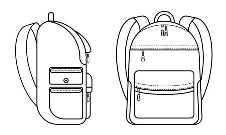 school backpack icons. Side and front view. September 1, beginning of school year at school. Student Accessories Vector on a white background Vettoriali