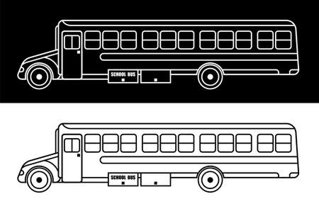 American school bus. September 1 is Beginning of the school year. Linear icon. Black and white vector