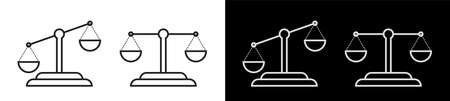scales icons set. Choice, making an informed decision. Fairness of law. Zodiac sign. Vector on white background