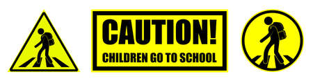 Set of yellow black danger signs, attention. Children cross road at the pedestrian crossing to school. Road safety. Vector on white background