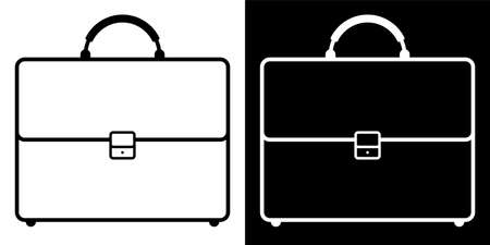 icon. Briefcase, suitcase of a businessman for carrying business documents. Storage of important information, archive. Black and white vector Vettoriali