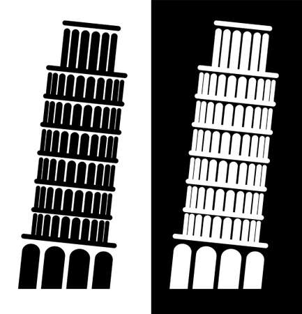 icon, leaning tower of pisa. Landmarks of Italy. Black and white vector