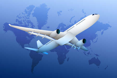 plane, realistic airliner on the background of continents and continents of globe. Travel and international flights. Tourism. Color vector