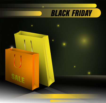Realistic multicolored cardboard packages on a black background. Concept BLACK FRIDAY. Sales, discounts on goods for buyers. Vector