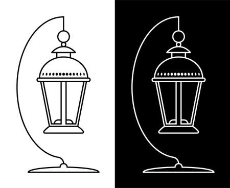 Icon. Street lamp with a candle on a stand. Lanterns and lighting for the holidays. Black and white vector 向量圖像