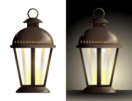 realistic street lamp with a candle inside and translucent glass walls. Lanterns and lighting for holidays. Warm and cozy light. Color vector