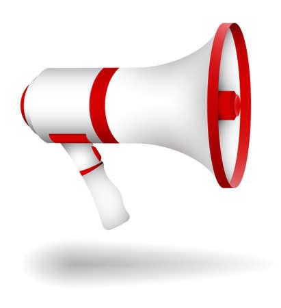 megaphone, cinema director loudspeaker. Speeches of speaker at rallies, strikes and meetings. Color cartoon vector