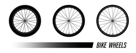 bicycle wheel symbol with different tread. Bike rubber mountain tire, valve. Active kinds of extreme sports. Black and white vector Ilustração