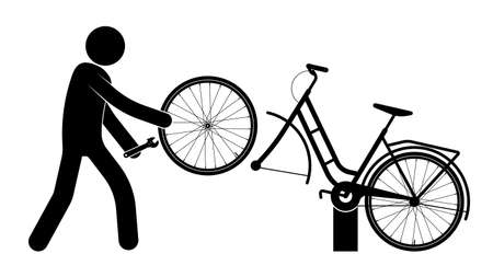 stick figure, mechanic repairs broken bike. Transport repair master. Cycling around the city, vehicle maintenance. Caring for the ecology and the environment. Black and white vector
