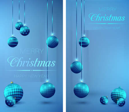 Christmas decorations, glass balls. Christmas, New Year greeting cards design, holiday banner. Decorations, shiny glass balls on blue background.
