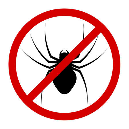 warning round sign about danger of poisonous insects. Attack of spider on humans.