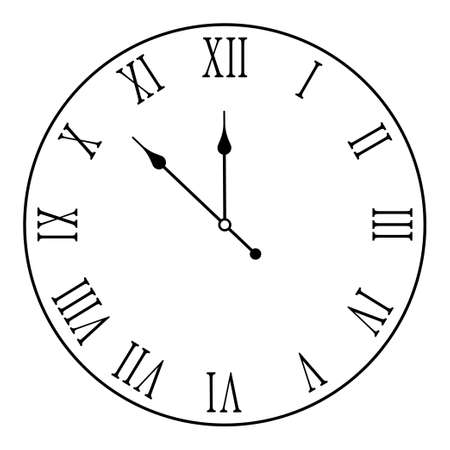 mechanical wall clock face with roman numerals. Measuring time. Countdown to the new year 2021. Vector on white background