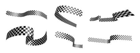 Finish black and white checkered flag waving in the wind divided into layers. Auto and motorcycle races, sports competitions, victory and defeat in sports. Vector