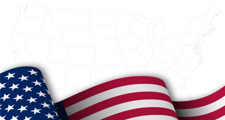 American flag in motion, fluttering in wind on background map with borders of states of America. Main star and striped symbol of USA. Template for holiday design