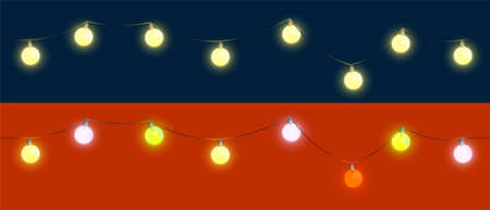 2021 Christmas tree decorations for New Year. Seamless repeating set of festive garlands with light bulbs. New Year mood, festive street lighting. Maintains effect on any dark background. Vector